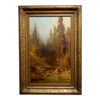 "Frederick Ferdinand Schafer ""California Wooded River Landscape"" Oil Painting, 19th Century For Sale"
