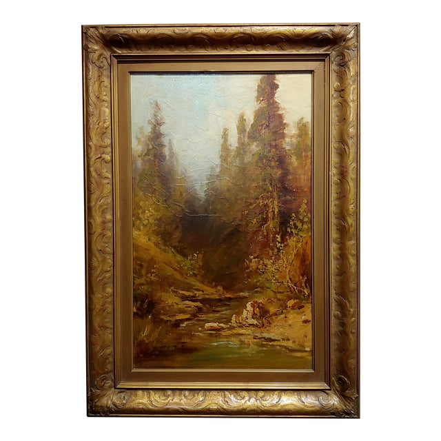 """Frederick Ferdinand Schafer """"California Wooded River Landscape"""" Oil Painting, 19th Century For Sale"""
