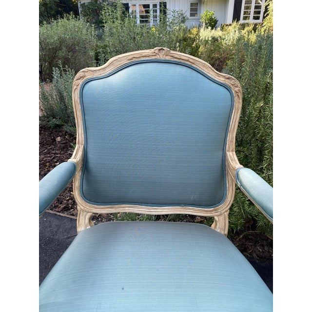 Wood Carved Upholstered Arm Chairs - a Pair For Sale - Image 4 of 9