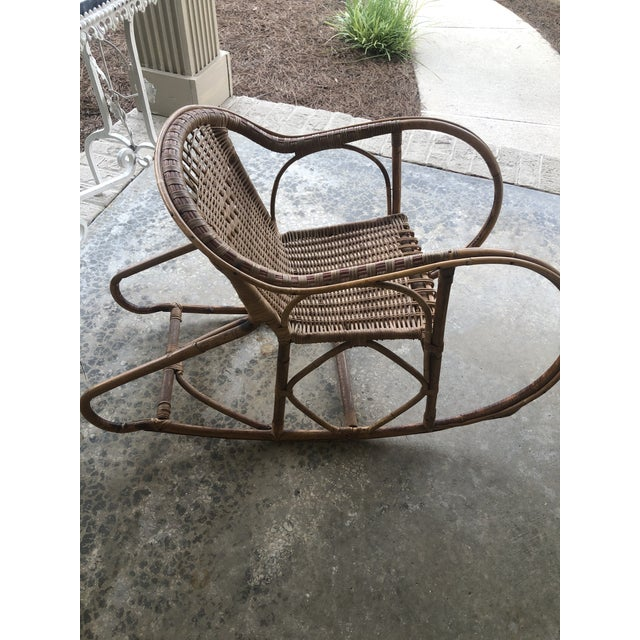 Boho Chic Antique Italian Bamboo/Wicker Child Rocking Chair For Sale - Image 3 of 9