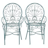 Image of Pair of Salterini Style Iron Garden Patio Chairs For Sale