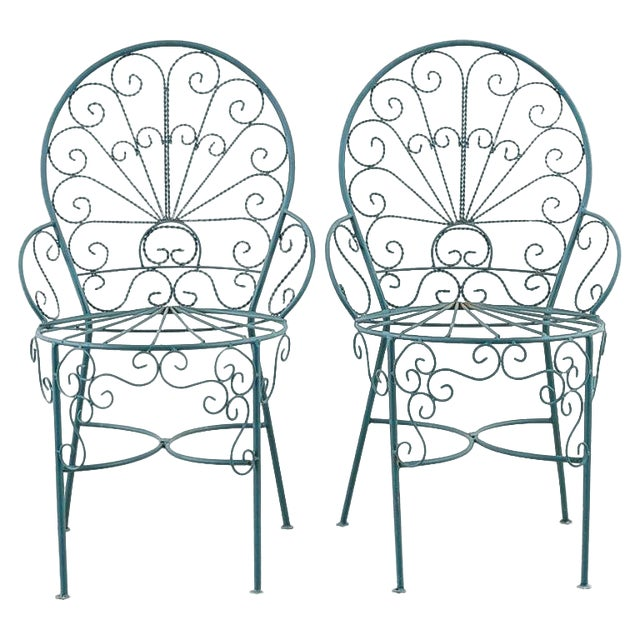 Pair of Salterini Style Iron Garden Patio Chairs For Sale