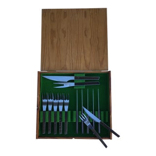 BBQ Monix Wood and Steel Forks & Knives In Box - Set of 12