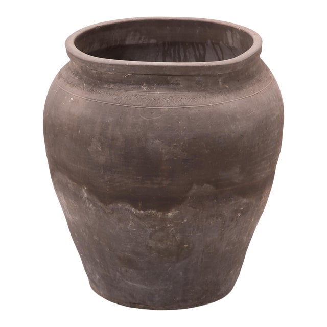Tapered Terracotta Storage Jar For Sale