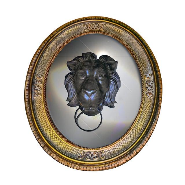 Lion Head Door Knocker Framed by a Vintage Golden Oval Mirror For Sale