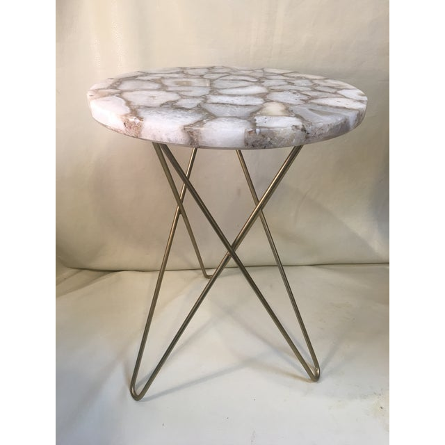 White Agate Table Top W/ Hairpin Legs For Sale - Image 8 of 8