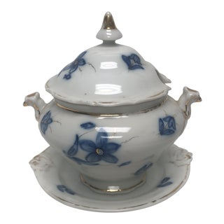 Blue and White Sauce Tureen With Underplate For Sale