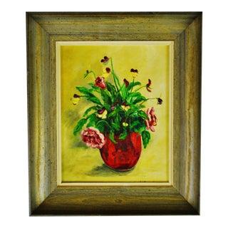 Vintage Framed Oil on Canvas Board Floral Still Life Painting - Artist Signed For Sale