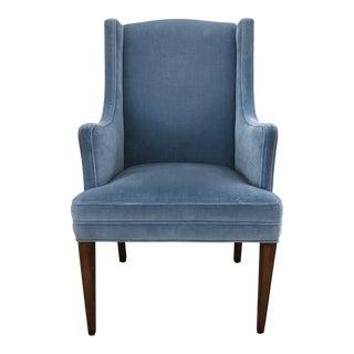 1980s Vintage Pale Blue Velvet Chair For Sale