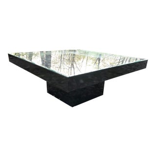 Black Lacquer Coffee Table Pedestal With Mirrored Top For Sale