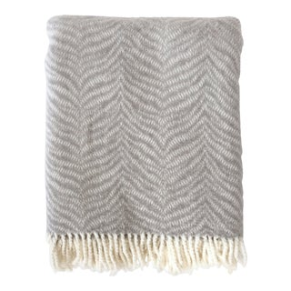 Fringed Gray Tiger Throw Blanket For Sale