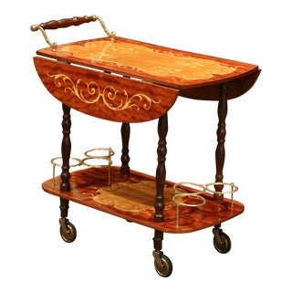 Late 20th Century French Rosewood and Brass Drop-Leaf Tea Cart With Marquetry For Sale