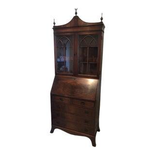 Antique Federal Style Mahogany Bureau Bookcase Secretary Desk For Sale