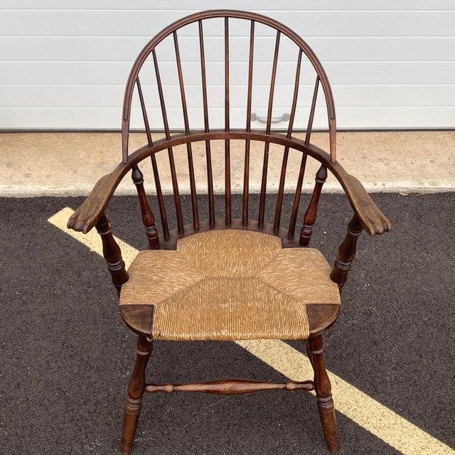 Wood Antique Sack Back Windsor Chair For Sale - Image 7 of 13