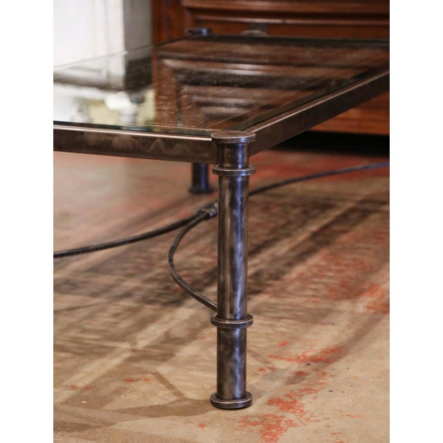 Iron Coffee Table Made With 19th Century French Gate Balcony With Glass Top For Sale - Image 12 of 13