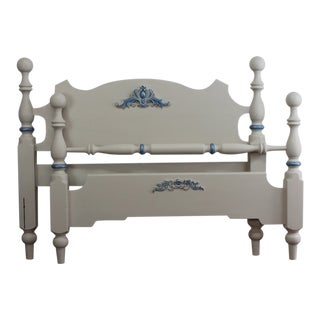 Cottage Style Full Size White and Blue Bedframe For Sale