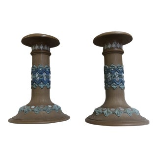 Vintage Jasper Ware Wedgewood Candlesticks - a Pair For Sale