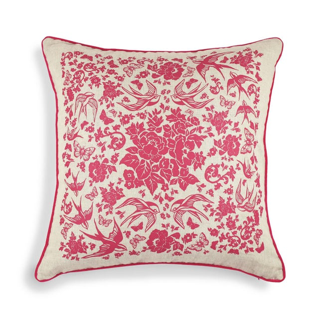 Swallow Garden Linen Pillow For Sale - Image 4 of 4