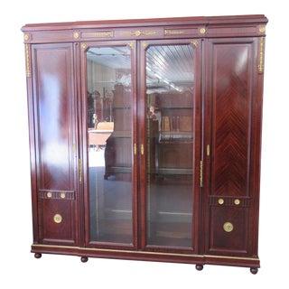 Regency Style Brass Mounted Breakfront Cabinet For Sale