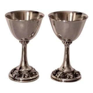 Modernist Sterling Silver Goblets, La Paglia for International Silver For Sale