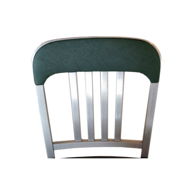 Vintage GoodForm Aluminum Chairs Green Leather For Sale In Chicago - Image 6 of 9