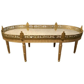 Hollywood Regency Plateau Style Coffee Table in Louis XVI Manner in Silver Gilt For Sale