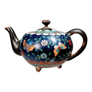 Late 19th Century Antique Japanese Cloisonne Miniature Teapot For Sale