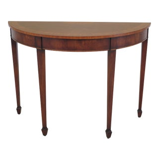 English Inlaid Mahogany 1/2 Round Federal Console Table For Sale