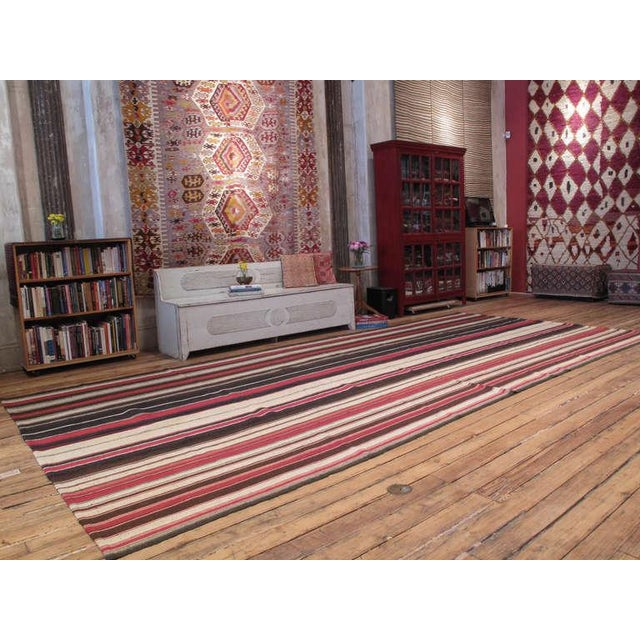 Traditional Large Kilim with Vertical Bands For Sale - Image 3 of 6
