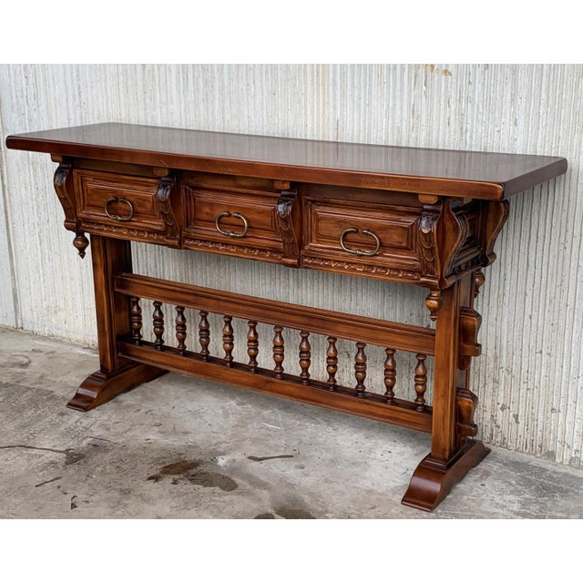 Baroque Console Table in Walnut With Three Carved Drawers and Stretcher For Sale - Image 4 of 11