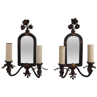Bronze Mirror Back Wall Sconces - a Pair For Sale