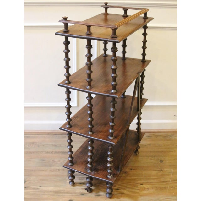 Brown Late 19th Century. Antique Rustic Folk Art Wooden Spool Shelves For Sale - Image 8 of 13