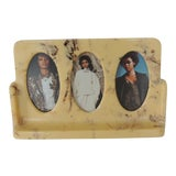 Image of Vintage Art Deco Yellow and Brown Faux Marble Bakelite Picture Frame For Sale