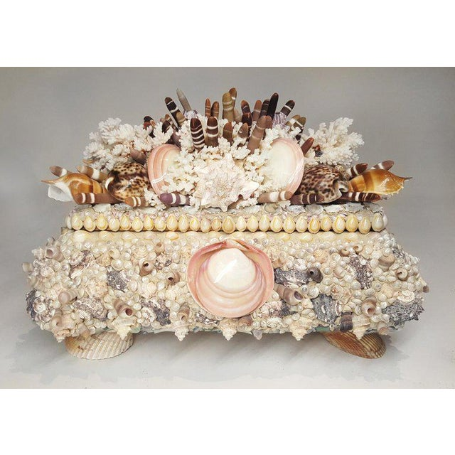 Contemporary Handmade Exotic Sea Shell Encrusted Large Scale Jewelry Box For Sale - Image 3 of 5