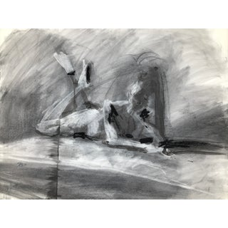 "Contemporary Figure Drawing in Charcoal and Ink - ""Idle, Crossed Feet"", by Artist David O. Smith For Sale"