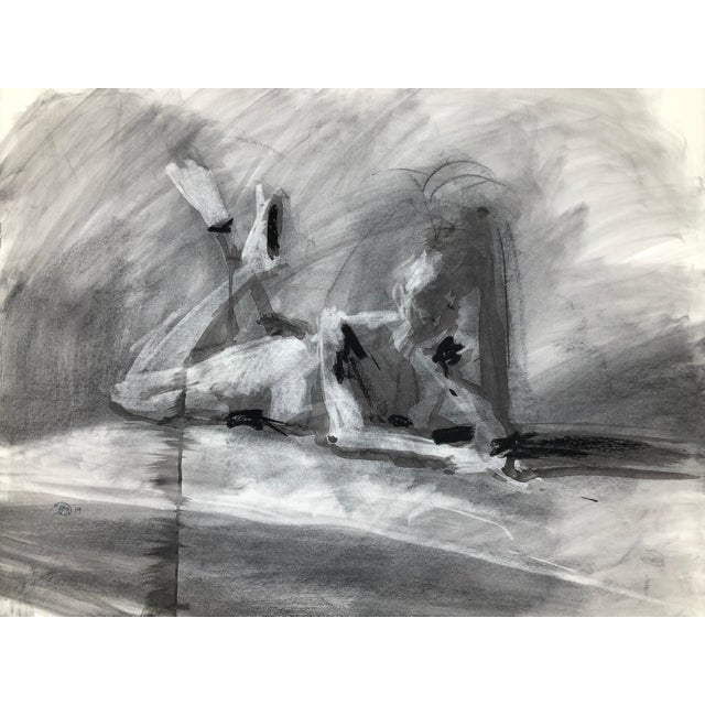 """Contemporary Figure Drawing in Charcoal and Ink - """"Idle, Crossed Feet"""", by Artist David O. Smith For Sale"""