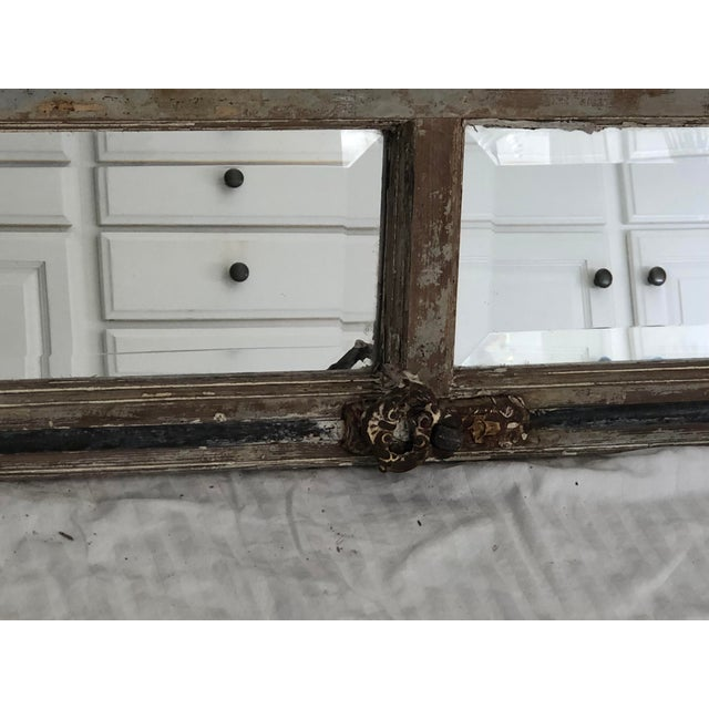 Glass Antique Provence Shutter W/Beveled Mirror For Sale - Image 7 of 8