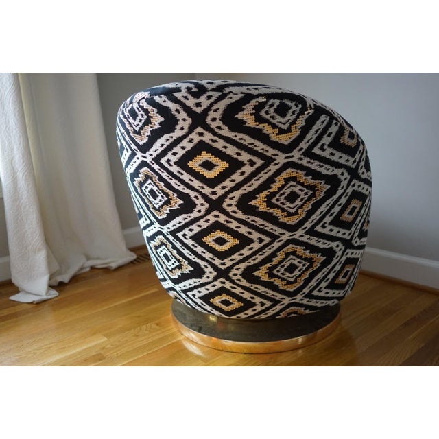 """This is a Milo Baughman for Thayer Coggin Gold Base Swivel chair newly upholstered in Lee Jofa THREADS """"Elektra"""" Odyssey..."""
