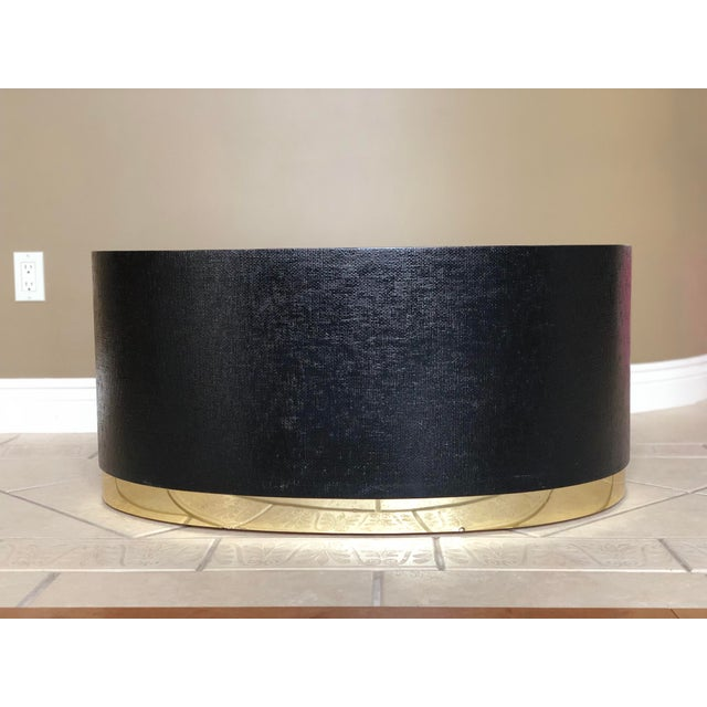 Art Deco 1970s Art Deco Karl Springer Kidney Black Grasscloth and Brass Coffee Table For Sale - Image 3 of 9