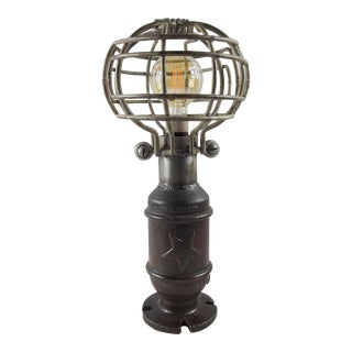 Industrial Iron Table Lamp With Cage For Sale