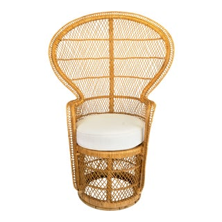 1970s Boho Chic Rattan Peacock Chair For Sale