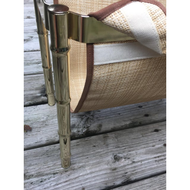Gold Brass Faux Bamboo Magazine Rack For Sale - Image 8 of 9