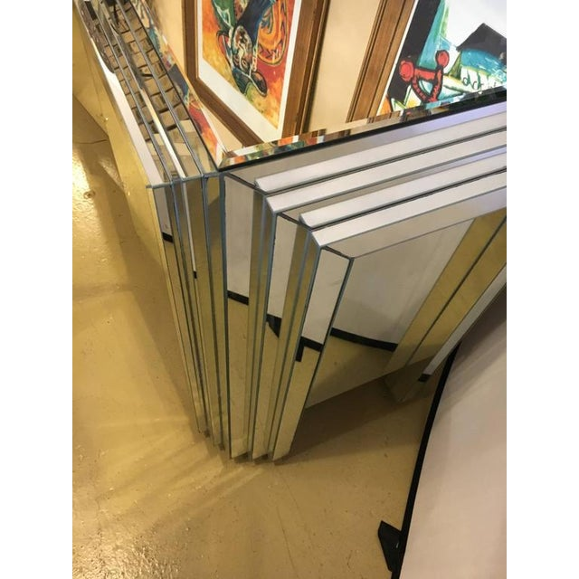 Glass Hollywood Regency 4-Door Mirrored Side Board or Dresser For Sale - Image 7 of 8