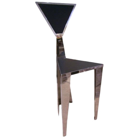 1970s Chic Stainless Steel Triangle Geometric Chair For Sale