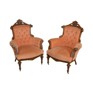 Victorian Renaissance Antique Pair Walnut Parlor or Library Lounge Chairs For Sale