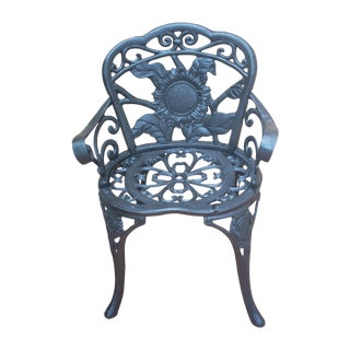 Antique Wrought Iron Garden Chair For Sale