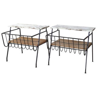 Mid-Century Modern Maurizio Tempestini Salterini Wrought Iron Side Tables With Marble Tops - a Pair For Sale