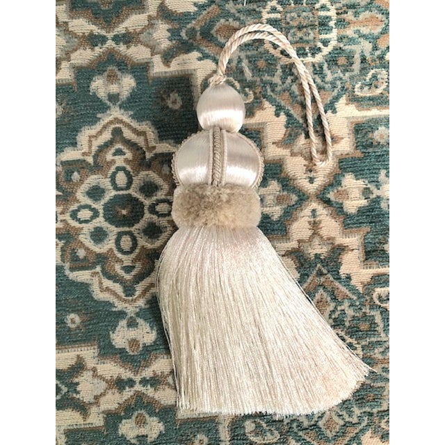 2010s Ivory Key Tassel W Cut Velvet Ruche For Sale - Image 5 of 13