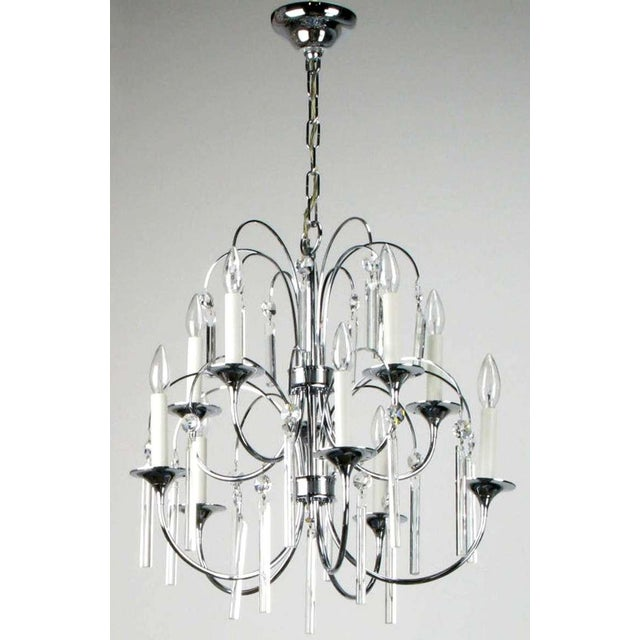 Beautiful chrome over brass ten arm Italian chandelier with trumpet bobeches and long square rod crystals with angled...