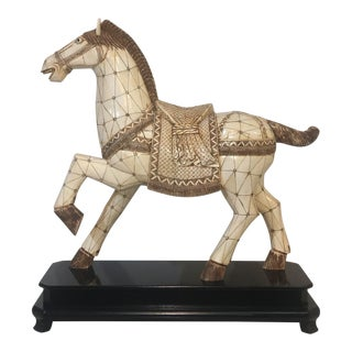 1970s Bone Tile Horse Figurine on Stand For Sale